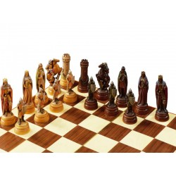 the Game of Chess Warriors carved in wood without Chessboard - Board Game Wooden Angel Statue