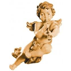 Fliegender Putten-Holz-Engel mit Klarinette - mehrfach gebeizt
