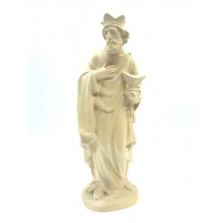 Wise Man Melchior in wood for Traditional Nativity Scene - natural