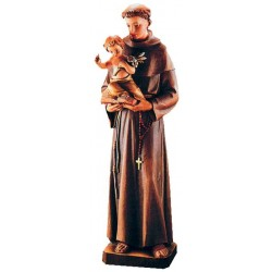 Saint Anthony with Child and lily wood carved sacred art statue made in Italy - oil colors