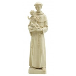 Saint Anthony with Child and lily wood carved sacred art statue made in Italy - natural