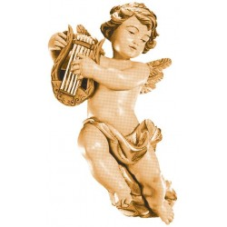 Flying Cherub Angel with Lyre from Italian Woodcarvers Wooden Angels handmade - Made in Italy - oil colors