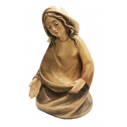 Mary wood carved nativity set - stained 3 col.