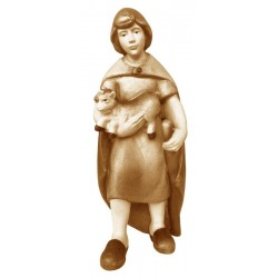 Shepherd with goat kid in wood - stained 3 col.