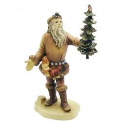 Weihnachtsmann mit Geschenken und Weihnachtsbaum, Dolfi Holzstamm Weihnachtsmann, Schnitzerei Gröden