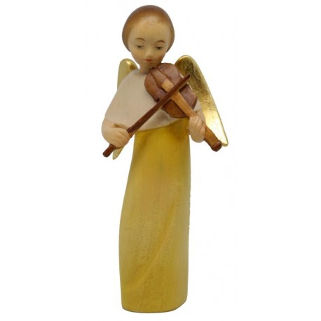 Modern Style Angel with Violin - Dolfi Hand carved Wooden Angels - Made in Italy - oil colors