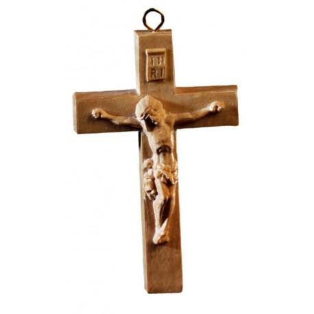 Rosenkranz-Kreuz aus Olivenholz - lasiert
