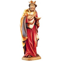 Wise Man Melchior in wood for Traditional Nativity Scene - color