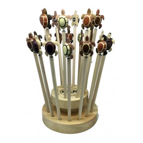 24 Holz-Bleistifte mit Schildkröte