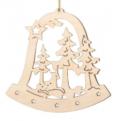 Bell with Elk - Natural Lasered Decoration for Christmas Tree  - Dolfi Ornament wood - Made in Italy
