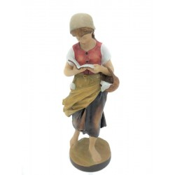 Happy Girl Reading a Book - Dolfi Gardena Art wood Sculpture - Made in Italy
