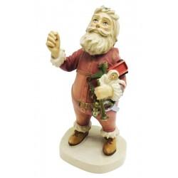 Weihnachtsmann aus Ahornholz geschnitzt, Dolfi Weihnachtsmann Figur Holz, Grödner Holzschnitzereien