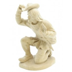 Kneeling Shepherd in wood - natural