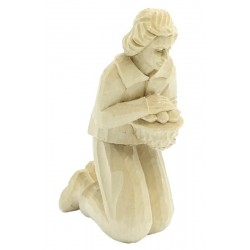 Kneeling Shepherd in Lindenwood Hand carved - Dolfi Wooden Nativity Scene for Yard - Made in Italy - natural