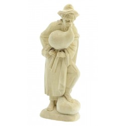 Shepherd with Bagpipe  in Lindenwood Hand carved Children'S Wooden Nativity Set - Made in Italy - natural