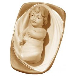 Bambino Gesù con culla scolpito raffinatamente in legno d'acero, statuine presepe scolpite in legno - colori ad olio
