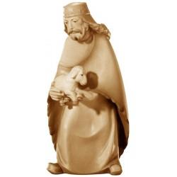 Pastore con pecora finemente scolpito in legno d'acero - Dolfi personaggi presepe scolpiti in legno - colori ad olio
