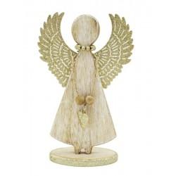 Holzengel mit goldenen Flügeln
