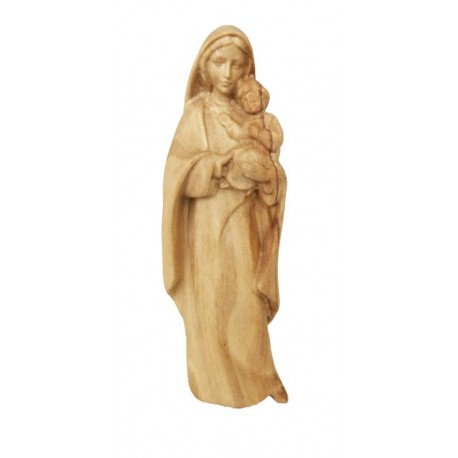 Mother with Child Madonna wood statue - olive
