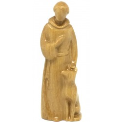 Saint Francis Modern Stile wood carved Statue - Dolfi Famous Christian Sculptures - Made in Italy - olive