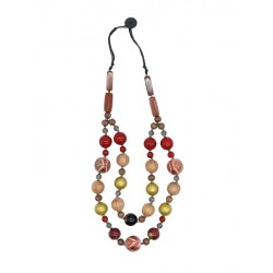 Two-strand wooden necklace