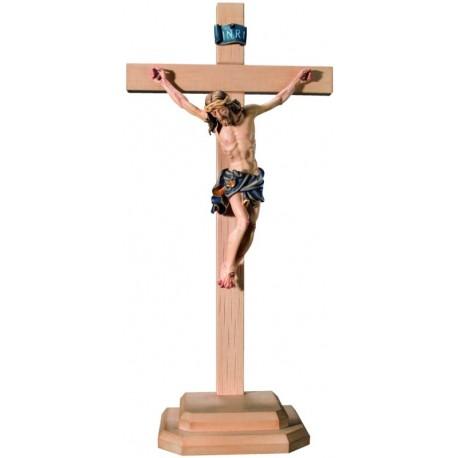 Christuskörper auf Sockel und geradem Balken - Blaues Tuch
