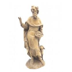 Hirte mit Schaf aus Holz geschnitzt in Südtirol, diese Skulptur ist eine edle Grödner Schnitzerei - Mittel braun