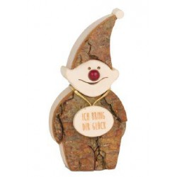 Elf in wood carved bark
