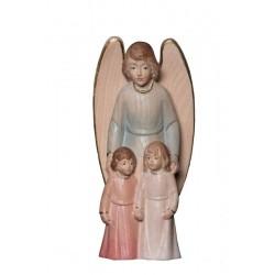 Angelo Custode con Bambini scolpito in legno acero - manto blu