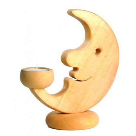 Mond aus Holz als Teelichthalter