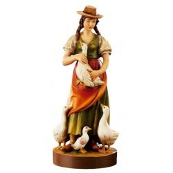 Donna con oche di legno - colorato a olio