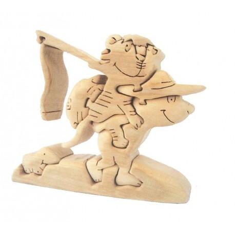 Orsetto con tigrotto Puzzle tridimensionale in legno