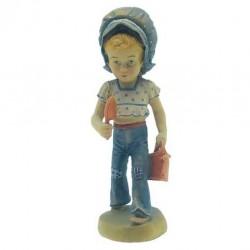 Piccola giardiniera - figura scolpita in legno - colorato a olio