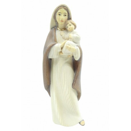 Mother with Child Madonna wood statue - ash