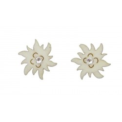 Earrings with edelweiss and Swarovski crystal