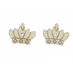 Wooden Earrings with crown and Swarovski
