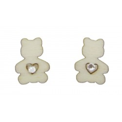 Wooden stud earrings in the shape of small teddy bears with Swarovski