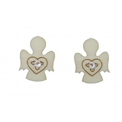 Wooden angel stud earrings with small Swarovski stone
