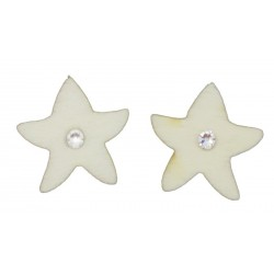 Star-shaped wooden lobe earrings with Swarovski crystal