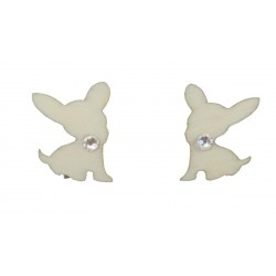 Wooden earrings with Chihuahua dog and Swarovski