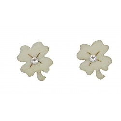 Lucky four-leaf clover earrings in wood and Swarovski