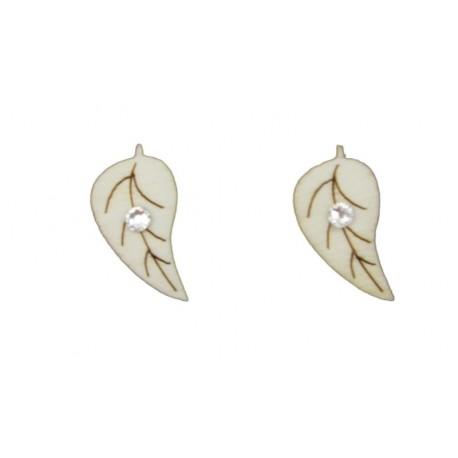 Leaf-shaped wooden lobe earrings