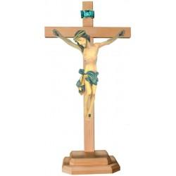 Barockes Standkreuz mit Christuskorpus aus Lindenholz - Blaues Tuch