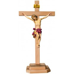 Body of Christ on Straight Cross and Wooden Base - Dolfi Hand carved Crucifix - Made in Italy - Red cloth