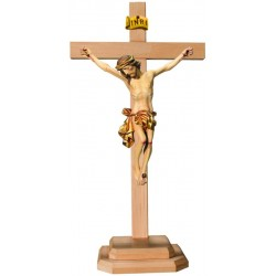 Body of Christ on Straight Cross and Wooden Base - Dolfi Hand carved Crucifix - Made in Italy - Gilded cloth