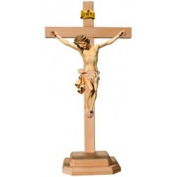 Barockes Standkreuz mit Christuskorpus aus Lindenholz - Weißes Tuch