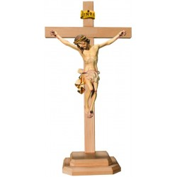 Body of Christ wood carving on Straight Cross and Base - White cloth