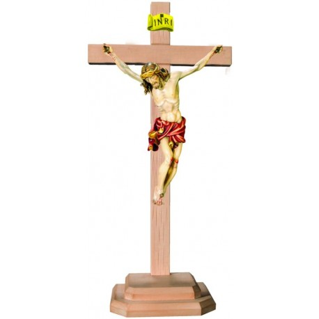 Christuskörper auf Sockel und geradem Balken - Rotes Tuch