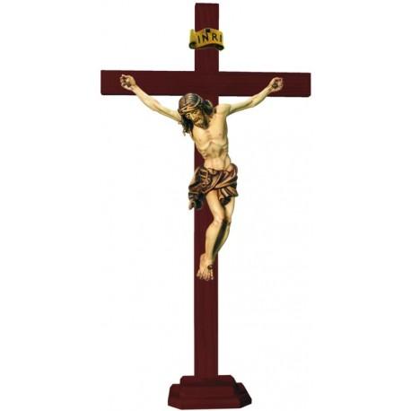 Christuskörper auf geraden Balken mit Sockel - mehrfach gebeizt