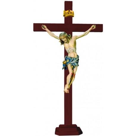 Christuskörper auf geraden Balken mit Sockel - Blaues Tuch
